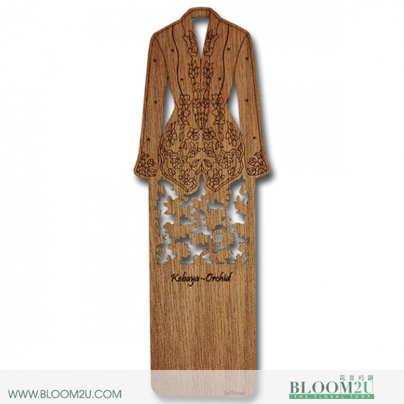 Wood Veneer Book Mark Baju Kebaya Orchid