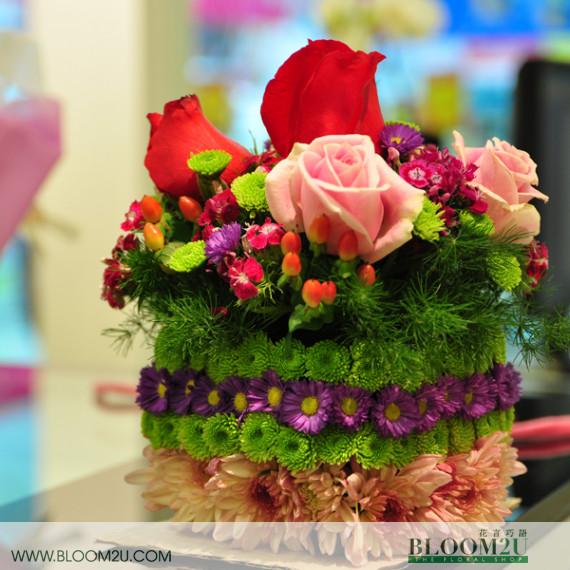 layered flower cake