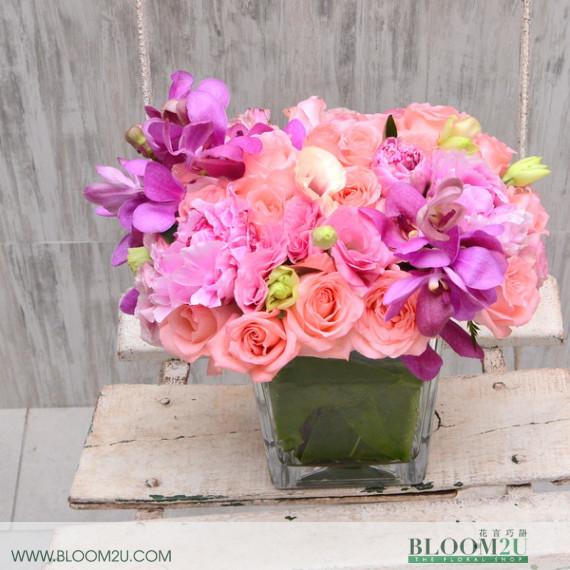 Pink roses flower arrangement