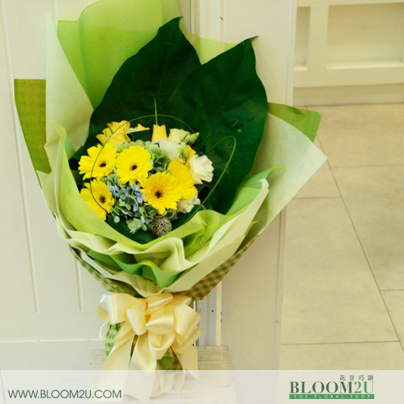 yellow hand bouquet
