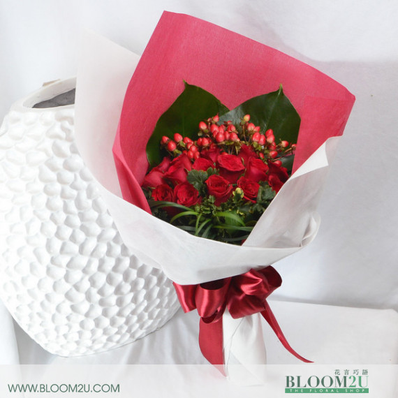 red hand bouquet