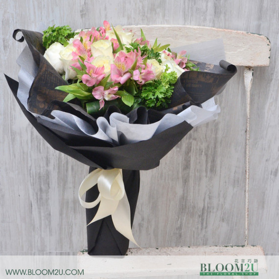 White Roses Bouquet in Black Wrappers
