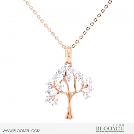 rose gold with diamond tree pendant