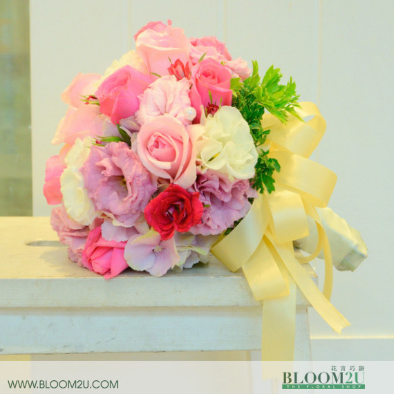 Bridal bouquet with eustoma flowers