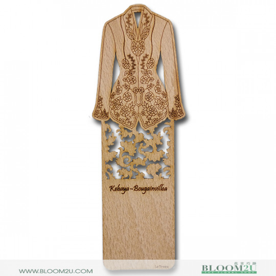 Wood Veneer Book Mark Baju Kebaya Bougainvillea
