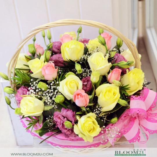 Yellow Rose Basket