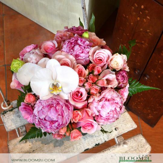 Peony vase arrangement