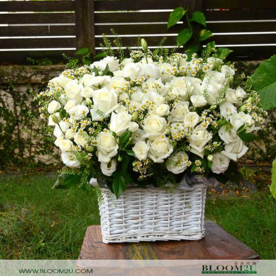 Grand white roses flower basket