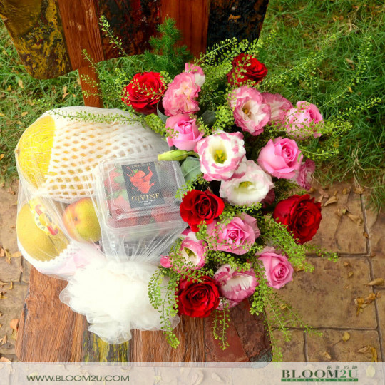 Red Rose and Fruit Basket Delivery