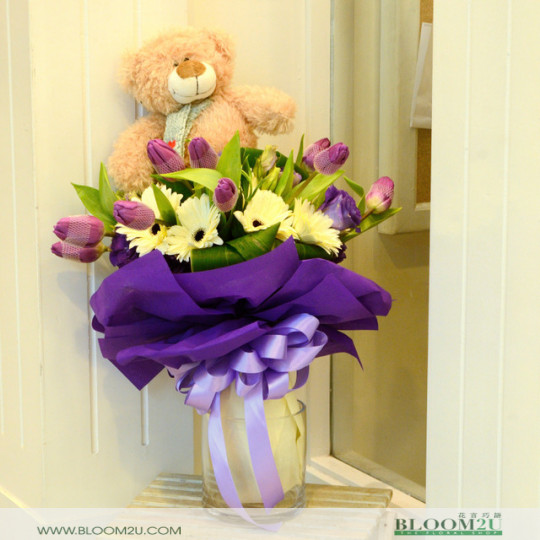 Tulips with Bear Bouquet