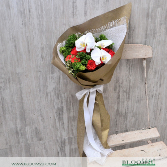 Roses Bouquet with Orchids